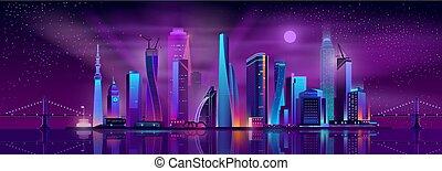 Metropolis nightlife cartoon vector background