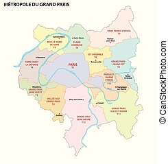 Metropolis of Greater Paris administrative and political vector map