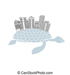 Metropolis on shell water turtles. City skyscrapers and...