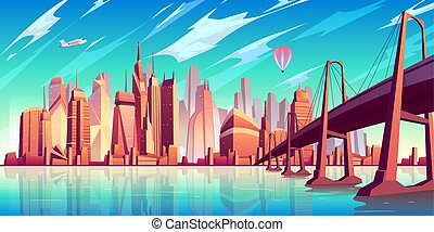 Metropolis skyline cartoon vector background