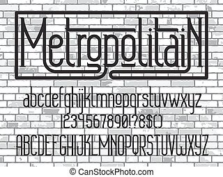 Metropolitain - modern thin line font. Minimalistic typeface. Alphabet letters and numbers on white brick wall background