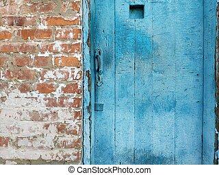 metselwerk, oud, houten, metaal, handvat, deur, baksteen, stuk, rood