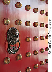 metszés, ajtó, fém, kopogtató, sárkány, oroszlán