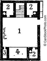 metszés, emelet, szüret, egyiptomi, épület, terv