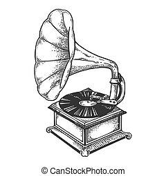 metszés, gramofon, vektor, ódivatú