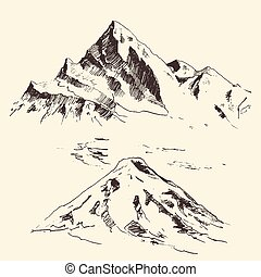 metszés, hegyek, rajzol, kéz, vektor, körvonal