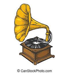 metszés, skicc, öreg, illustration., szín, szüret, gramofon, mód, kéz, imitation., vektor, fekete, bizottság, mód, rögtönzött, húzott, gramofon, fehér, image.