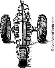 metszés, stilizált, vektor, rajz, traktor