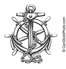 metszés, style., hajó, ábra, l, whee, vektor, vasmacska, tetovál