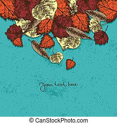 mette foglie, fondo, autunno