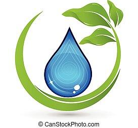 mette foglie, logotipo, goccia, acqua verde