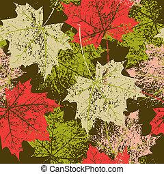 mette foglie, modello, seamless, autunno