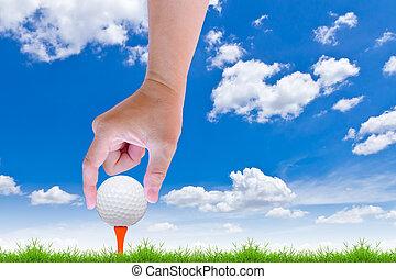 mettere, palla, tee golf, mano