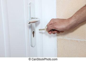 mettere, serratura, chiave porta, uomo