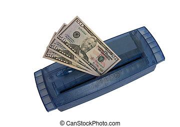 mettere, soldi, trinciatrice