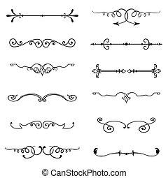 mettez stylique, éléments, calligraphic