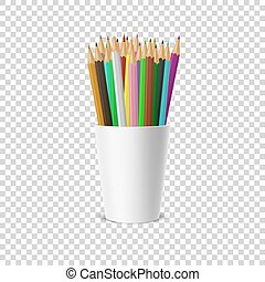 mettez stylique, vide, gabarit, clipart, mockup, -, isolé, plastique, arrière-plan., cup-stand, app., toile, grille, graphiques, devant, icône, closeup, coloré, réaliste, vecteur, transparence, pencils., ou, vue