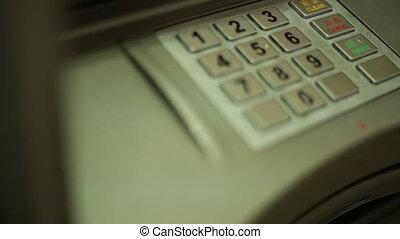 mettre, distributeur billets banque, clavier, épingle