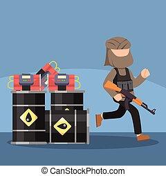 mettre, essence, terroriste, bombe, réservoir