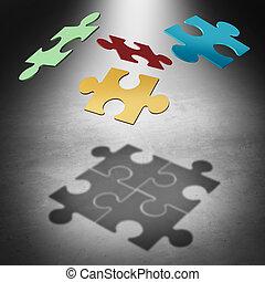 mettre, les, puzzle, ensemble