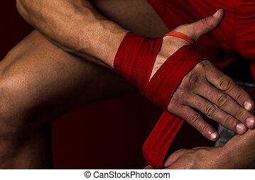 mettre, mains, sien, combattant, straps