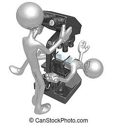 mettre, microscope, sous