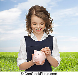 mettre, porcin, girl, banque pièce monnaie, heureux
