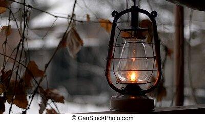 mettre, vieux, kérosène, extérieur, lampe
