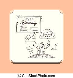meu, cartão aniversário, mão, desenhar, animal