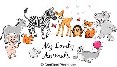 meu, encantador, animais