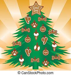 meu, favorito, cachorros, árvore, natal