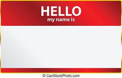 meu, olá, cartão, nome