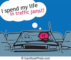 meu, vida, tráfego, jam!, gastar