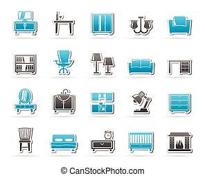 meubel, en, thuis, uitrusting, iconen
