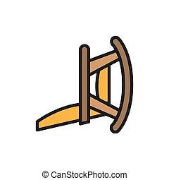 meubel, lijn, plat, wiegen, kleur, icon., verpleeghuis, stoel