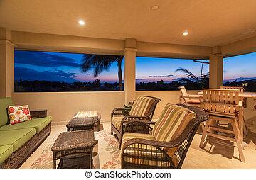 meubel, ondergaande zon , terras, dek
