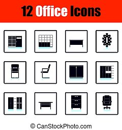 meubel, set, kantoor, pictogram