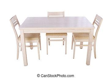 meubel, set, met, tafel, en, stoel