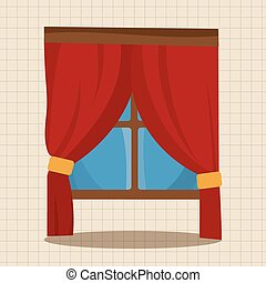 meubel, thema, venster, communie, vector