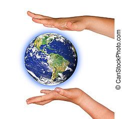 meublé, ceci,  image, Planète,  NASA, La terre, paumes,  éléments