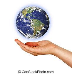 meublé, ceci,  image, Planète,  NASA, La terre, paume,  éléments
