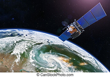 meublé, sur, nasa., recherche, feux, sentir, measurements., la terre, contrôler, areas., écarts, forêt, au-dessus, image, satellite, éléments, outbreaks, marqué, ceci, grand, foci, fumée, sondage