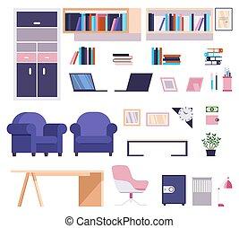meubles, élégant, bureau, collection, moderne