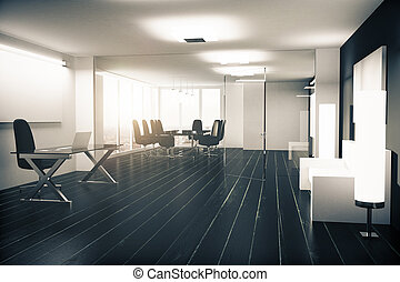 meubles, bureau, plancher, bois, moderne, vitreux, murs, noir