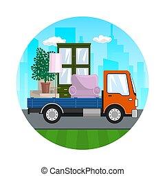 meubles, camion, route, icône