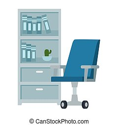 meubles, chaise, livres, tiroir, bureau