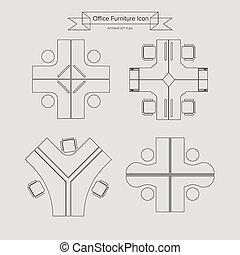 meubles, contour, bureau, icône