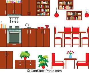 meubles, cuisine, ensemble