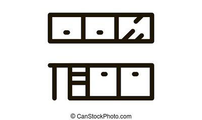 meubles, cuisine, icône, animation