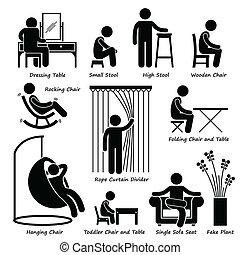 meubles, décorations, icônes